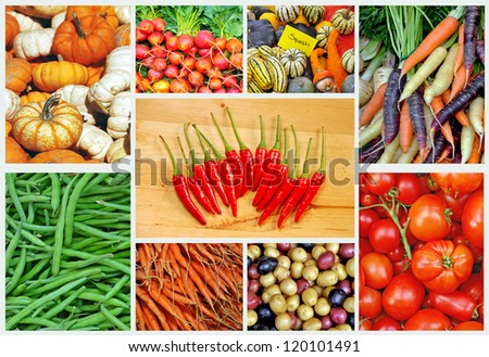 Collage of assorted colorful vegetables