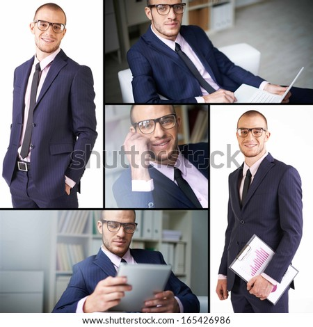 Collage of attractive male in suit and eyeglasses #165426986