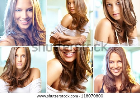 Collage of attractive young woman posing in front of camera