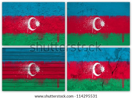Collage of Azerbaijani flag with different texture backgrounds
