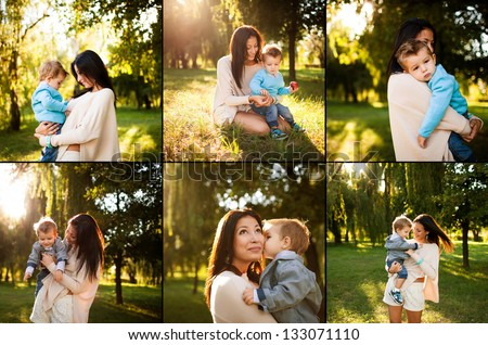 collage of baby boy with his mum playing  in the park