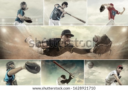 Collage of Baseball players in dynamic action under stadium light at evening time. Sport activity game popular in world. Stock photo ©