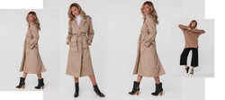 Collage of Beautiful blonde woman. Different posses natural makeup wear fashion clothes casual dress code office style total beige blouse and pants suit, long trench beige.