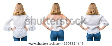 Collage of beautiful blonde woman over white isolated background standing backwards looking away with arms on body
