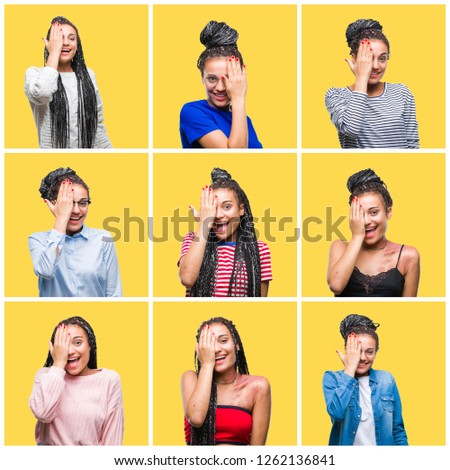 Collage of beautiful braided hair african american woman over yellow isolated background covering one eye with hand with confident smile on face and surprise emotion. #1262136841