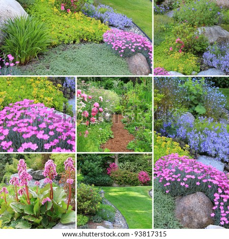 Collage of beautiful gardens in spring.