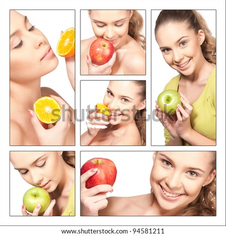 collage of beautiful girl with a fruit on a isolated  background