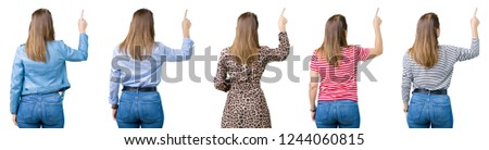 Collage of beautiful middle age woman over isolated background Posing backwards pointing behind with finger hand