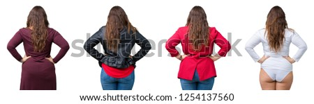 Collage of beautiful plus size woman over isolated background standing backwards looking away with arms on body