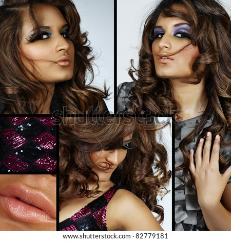 collage of beautiful spanish young woman with fashion make-up and fake eyelashes and long curly hair blowing in wind