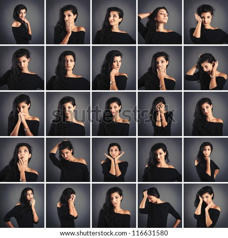 Collage of beautiful woman close up portrait with different expression on dark background.