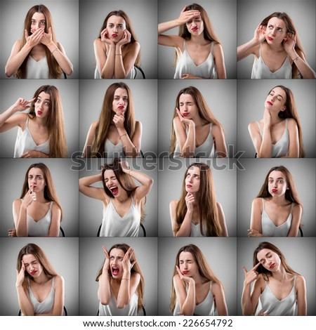 Collage of beautiful woman with different sad facial expressions on grey background