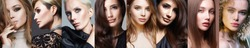 collage of beautiful women with differnt color Hair and Hair style. beautiful teen girls with make-up.female faces.