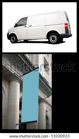 collage of billboard type shots with white van and empty sign. Just CLICK on the white outside the van or the blue in the flag for a path