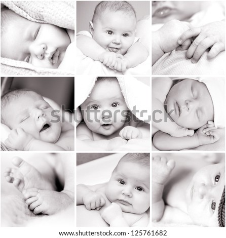 collage of black-and-white baby's photos