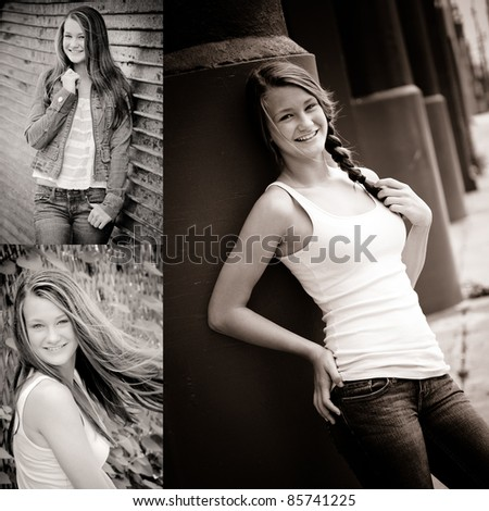 collage of black and white photos fashionable teen girl