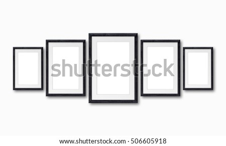 Free photos Collage of five frames on black wall, Interior decor ...