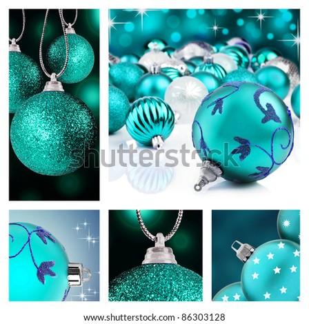 Collage of blue  christmas decorations on different backgrounds