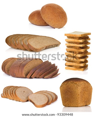 collage of bread isolated on white background