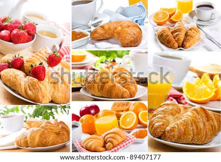 collage of breakfast with croissant