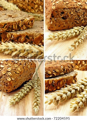 Collage of brown bread & wheat on a wooden board