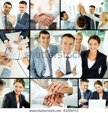 Collage of business group in office during working day - stock photo