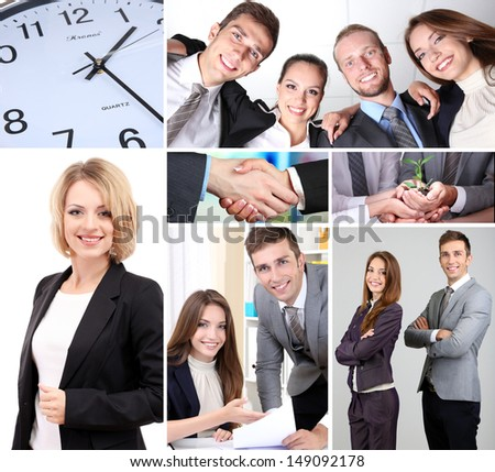 Collage of business partners - stock photo