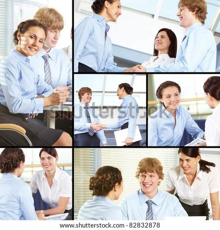 Collage of business partners negotiating and making agreements