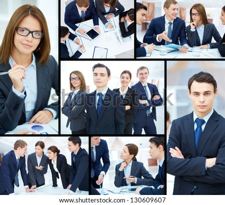 Collage of business partners working at meeting and posing for camera
