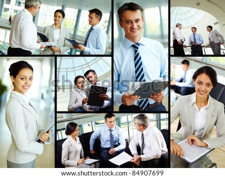 Collage of business people at work and leaders