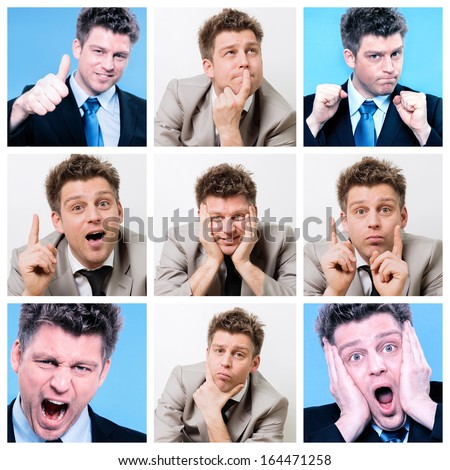 Collage of businessman posing and working at the office #164471258