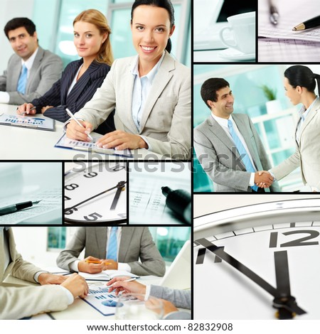 Collage of businesspeople at work and business objects