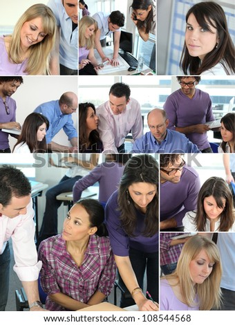 Collage of busy office employees