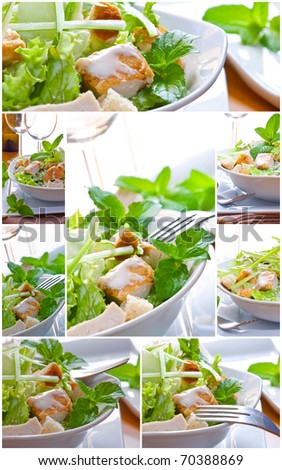 collage of caesar salad with sauce and chicken