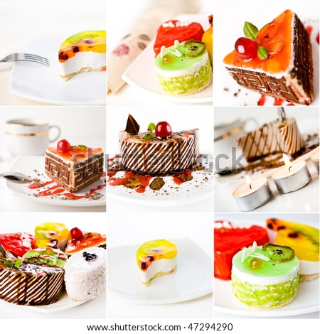 collage of cake on white background