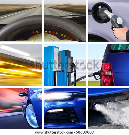 collage of car interior details and transport attributes