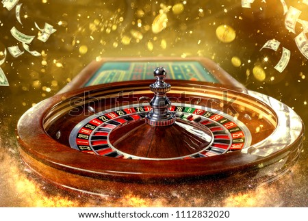 Collage of casino images with a close-up vibrant image of multicolored casino roulette table with poker chips