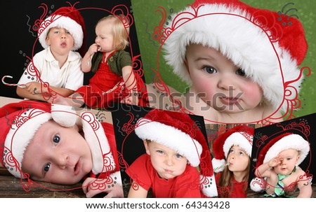 Collage of children christmas images and scroll patter.  Images and Patterns belong to photographer.