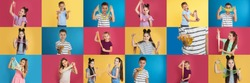 Collage of children with different slimes on color backgrounds