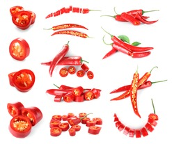 Collage of chili peppers on white background
