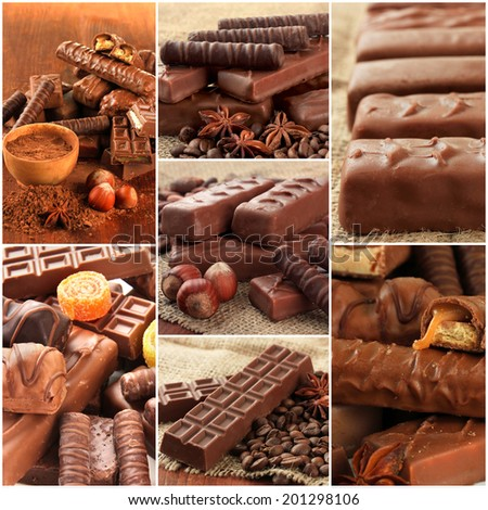 Collage of chocolate bars