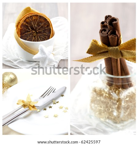 collage of cinnamon, orange and place setting