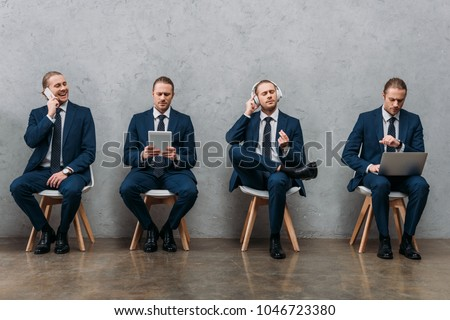 collage of cloned businessman sitting on chairs and using gadgets