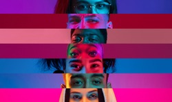 Collage of close-up male and female eyes isolated on colored neon backgorund. Multicolored stripes. Flyer with copy space for ad. Concept of equality, unification of all nations, ages and interests