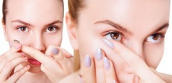 Collage of closeup view on young woman wearing contact lenses. Over white background.