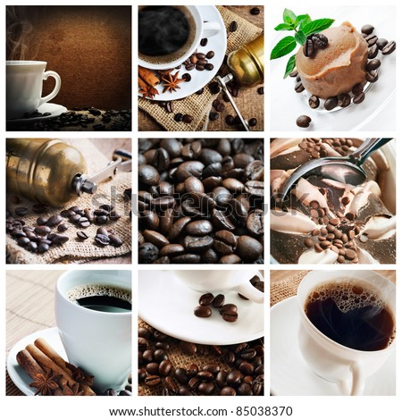 Collage of coffee and coffee products