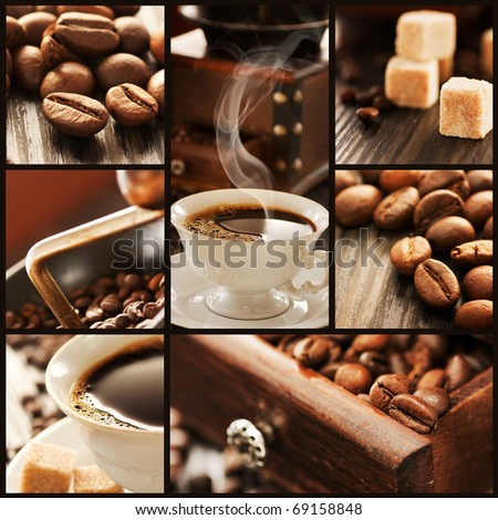 Collage of coffee details. Coffee antique grinder, coffee beans and sugar cubes.