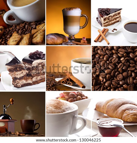 collage of coffee pictures with cinnamon, coffee beans, chocolate cake