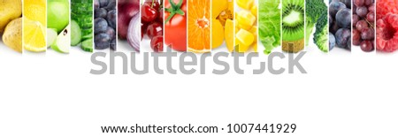 Collage of color fruits and vegetables. Food concept - Shutterstock ID 1007441929