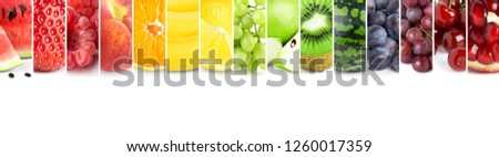 Collage of color fruits. Fresh ripe food. Food concept #1260017359